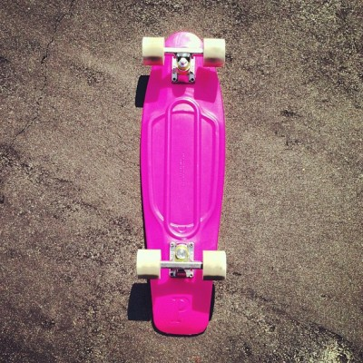Swaggin on my new hot pink penny board courtesy of @ridenature #ridenature go check em out