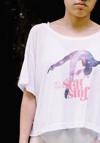 Upclose: our Starstuff shirt.