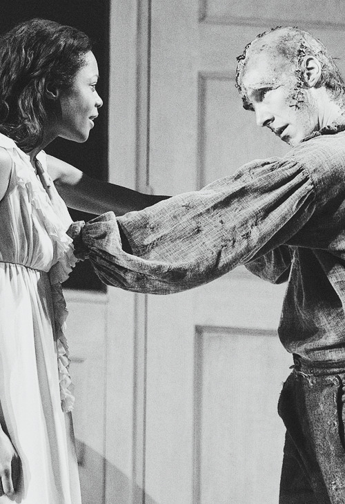 Naomie Harris and Benedict Cumberbatch in National Theatre's Frankenstein.