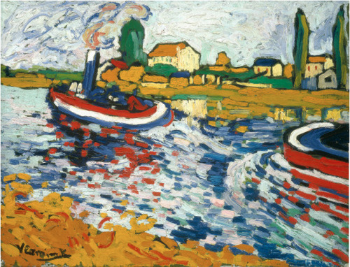 cavetocanvas:  Maurice de Vlaminck, Tugboat on the Seine, Chatou, 1906 From the National Gallery of Art:  Both Derain and Vlaminck lived in Chatou, a suburb of Paris in the Seine valley, and they began painting together there—as well as in other towns along the river—in 1900, at which time they rented a studio on the Ile-de-Chatou. The two artists had grown up in and around Chatou, a fairly quiet, picturesque spot that had been spared the kind of industrial activity that had recently influenced the character of other nearby towns such as Argenteuil.4 In 1901, Derain entered military service, thus ending a fifteen-month partnership that would only be resumed in 1904. During the fauve years, Vlaminck and Derain painted many of the same sites, including views of and from the pont de Chatou, an old railroad bridge. Vlaminck in particular much preferred the suburban landscape to the sites of Paris (which, in general, did not occupy fauve painting), and his images of Chatou were personal paeans to familiar ground. Tugboats on the Seine is a brilliant example of Vlaminck's most accomplished fauve manner. Executed with broad, loose but loaded, densely accumulated brushstrokes, the surface of the picture teems with a calligraphic energy that typifies fauve painting, and is a special hallmark of Vlaminck's manner. This effect is heightened by the absence of shadows; the use of pure colors throughout the composition allows all areas of the image to occupy the picture plane with equal weight. Unlike Matisse and Derain, Vlaminck did not employ a mixed technique, and the uniformity of his brushstrokes serves, on a secondary level, to unify his work.