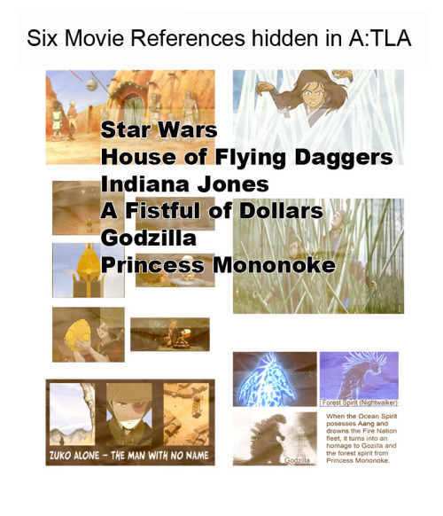 "Six Movie References Hidden in A:TLA  Star Wars In ""The Library"" the Sandbenders are based on the Tusken Raiders aka Sandpeople from Star Wars and the 'lantern' above the door looks like a Death Star. House of Flying Daggers The ice cage Katara ends up in when she loses the fight against Pakku is an homage to the bamboo cage in House of the Flying Daggers. As is the 'Dai Li hanging upside down from the cave' scene at the end of season two.  Indiana Jones Zuko and Aang's discovering the dragon egg in the temple visually mirrors the beginning of ""Indiana Jones and the Raiders of the Lost Ark"" A Fistul of Dollars The episode 'Zuko Alone' is an homage to: Red Harvest - Yojimbo - A Fistful of dollars i.e.A noir novel, made into a Samurai movie, made into an Italio-Western, made into an A:TLA Western. Godzilla and Princess Mononoke When the Ocean Spirit posesses Aang and drowns the Fire Nation fleet, it turns into an homage to Gozilla and the forest spirit (aka the nightwalker) from Princess Mononoke."