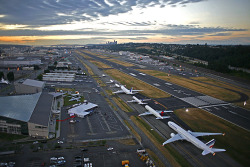 automotive-lust:  Amazing shot at Boeing Field (Seattle) of Boeing's aircraft offerings, including the 717, 737, 747, 757, 767, and 777…the 787 (not pictured) was just being introduced