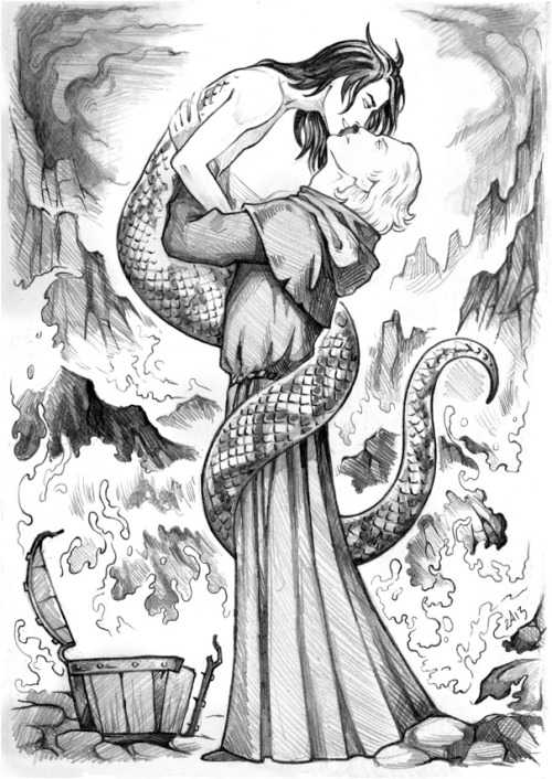 candragloomblade:  When St. Patrick was banishing snakes from Ireland, one snake didn't want to leave (and GO fans can guess snake's name). Then St. Patrick built a wooden crate and assured the snake that it can never possibly fit inside the crate. The insulted snake was bent on proving him wrong and got trapped. And St. Patrick swiftly sealed the crate and threw it into the deep sea waters. Crowley was drifting for a while and was fearing a soon discorporation, but he was finally washed ashore. And at the very same time Aziraphale was sitting on the said shore, pondering on eternal matters. Noticing the crate, he decided to open it out of curiosity. As soon as he opened it, rejoiced Crowley jumped right into his arms, changing his shape on the fly.