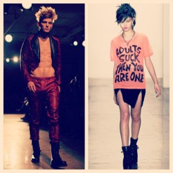 More memoires as I blog about Jeremy Scott runway .. on my wardrobe wish list #NYFW @jeremyscott #jeremyscott #menswear #men #fashionweek #fashion #ny #nyc #runway #face #sexy #expression #distress #women #tee #abs #fit #blazer #heels #hair #hot #peach #red #black #pink #style #quote