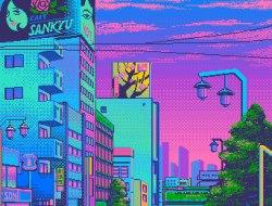 blue pink 80s neon 8bit pixel graphics 80s purple