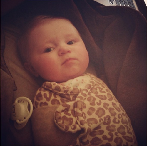 """This is the look my daughter gives me. Already has an attitude ;) love her!"" - @kellinquinn"