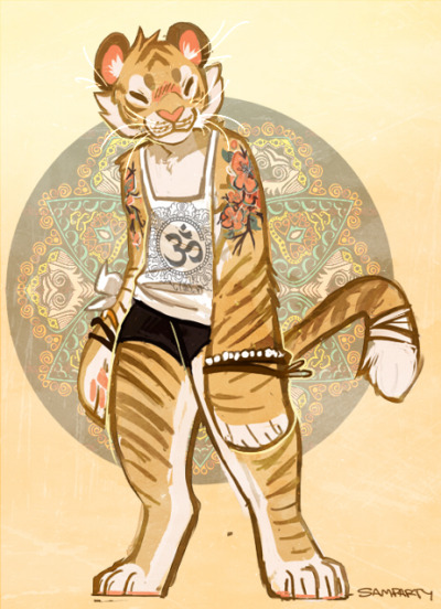 samparty:  A golden tiger girl I've had in my head for the longest time, but didn't have the time to draw out! I started this last night as a quick thing before bed, and just had to finish. nothing too special about her..she's very calm and meditative. only speaks when she needs to, and she is always smiling. a very proud and happy spirit! haven't figured out a name yet, was thinking maybe Lily..haha.