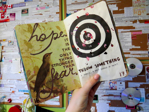 ehdreeahnah:  My Wreck This Journal | Page 16 & 17 → Throw Something: A Pencil, A Ball Dipped in Paint.