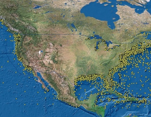 motherjones:  Here are the 20,000 shipwrecks in US waters. Some of them are still leaking oil, because of Hitler. (No, really, they were sunk by German U-Boats—it's a serious environmental problem.)