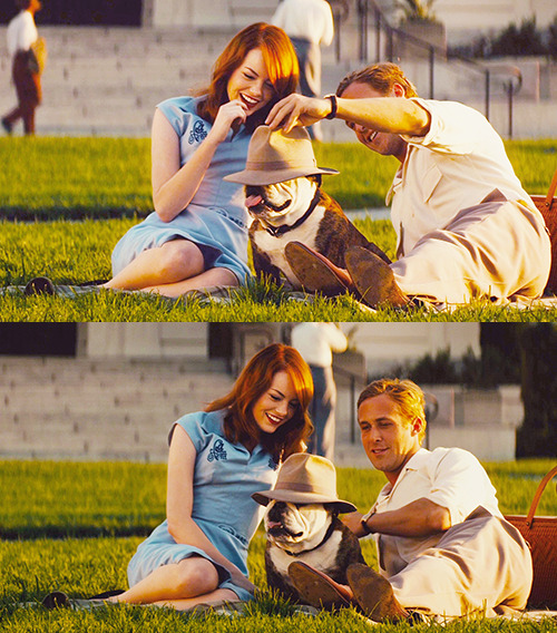 I want this to be my life! Chilling with Ryan Gosling and a bulldog everyday.