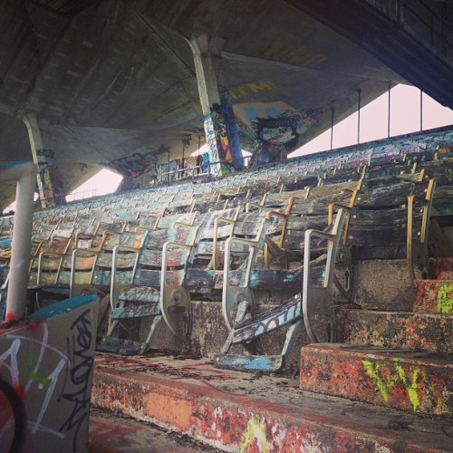Miami Marine Stadium. On a tour with the folks trying to save it @josefelixdiaz #miami #keybiscayne #architecture #stadium #history