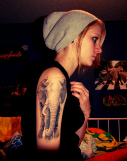 mambacon:  Me and my elephant tattoo, fondly named Bella-phant.  By Gabe at Wingnut Tattoo in Anoka, MN.