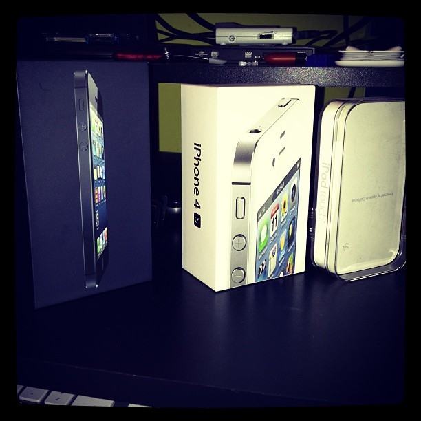 Proudly displaying my boxes #apple #iphone5 #iphone4s #ipodtouch