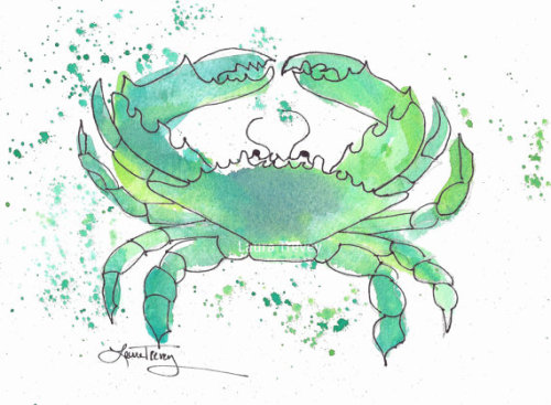 Mint green crab print on Etsy