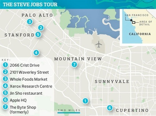 rootstartup:  The Steve Jobs Tour » Map of Silicon Valley :)