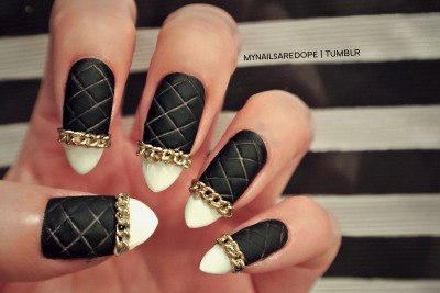 mynailsaredope:  QUILTED CHANEL INSPIRED NAILS ..this is where yall seen 'em first.