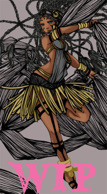 corginokami:  CG WIP ~ dark skin and white hair, I adore this, but I was never use it. Now it's almost done.  OMG *v*