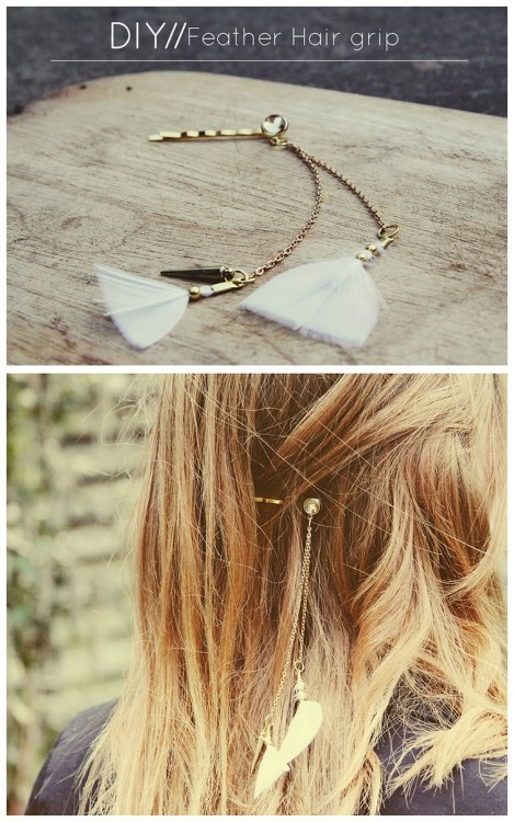 truebluemeandyou:  DIY Feather, Chain and Charm Hair Clip Tutorial from Teahab here. I like this tutorial because it isn't something I've seen at local stores and it can be customized in so many ways.