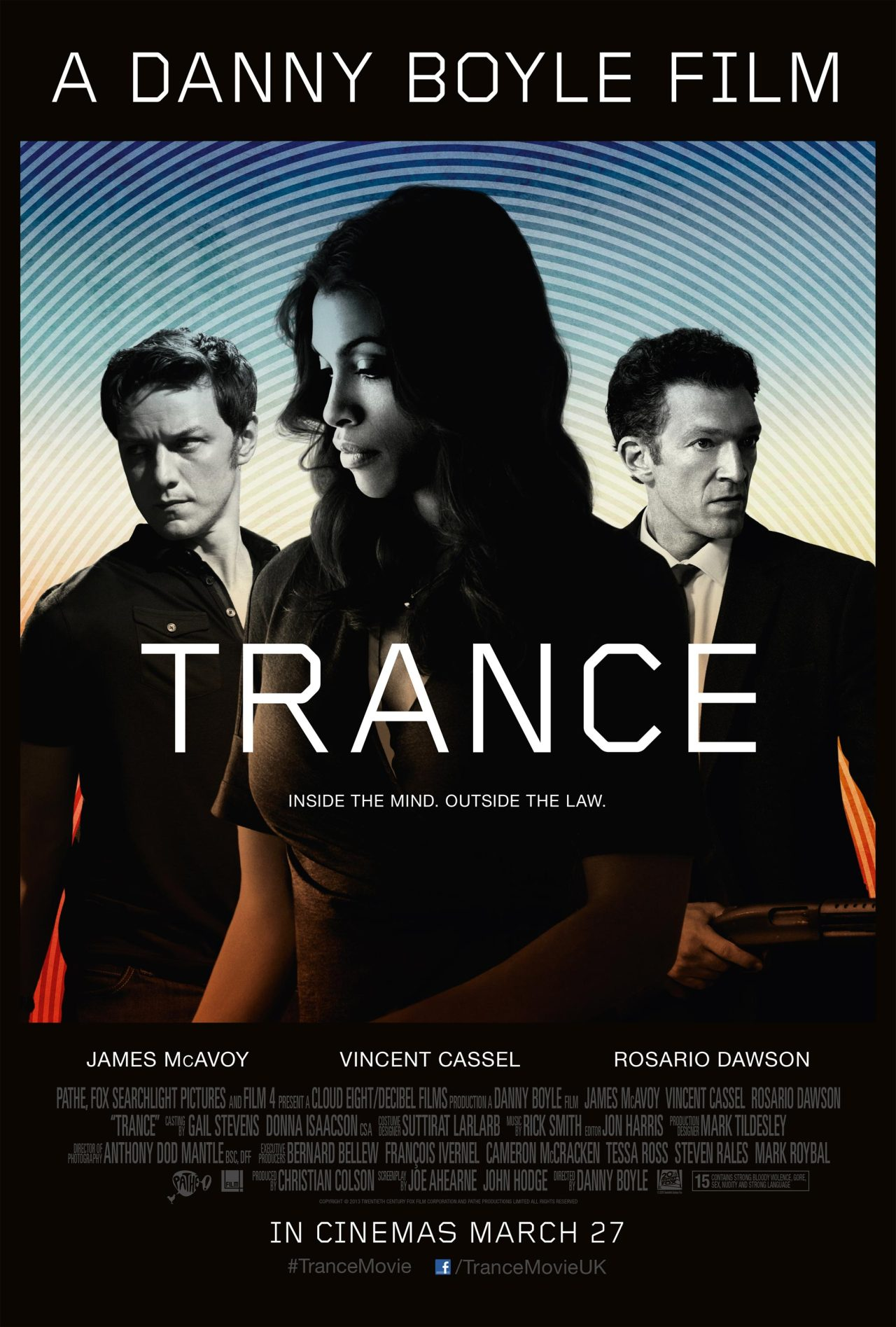 Trance (2013)   An art auctioneer who has become mixed up with a group of criminals partners with a hypnotherapist in order to recover a lost painting.   This was a load of rubbish!!! The plot was incredibly stupid, was not original. Really not worth one's time. Click on the poster above to see the film's trailer on YouTube.