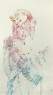 farewell-kingdom:  Oriol Angrill Jordà - Featherlike, colored pencils