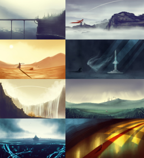 A batch of fantasy environments. Speedpaints. For a novel I'm writing.