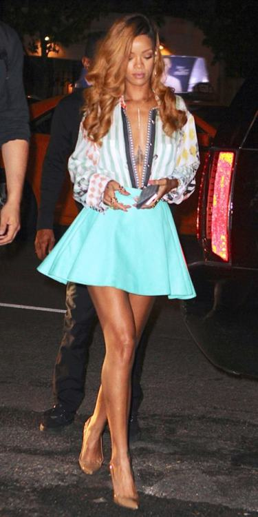 whowhatwear:  Who needs buttons anyway? Shop Rihanna's deep v look.