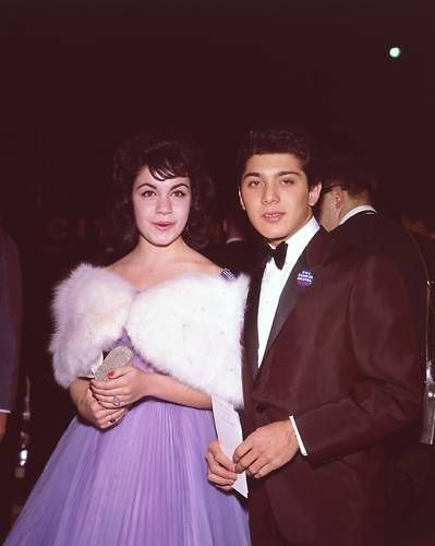 Annette Funicello & Paul Anka circa 1959 the pair dated when she was a young disney starlet and he wrote the song 'puppy love' for her.