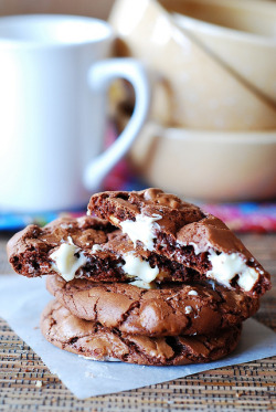 Outrageous chocolate cookies with white chocolate chunks