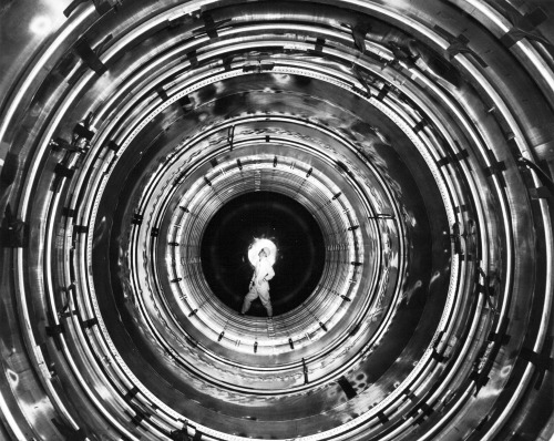 Inside an Atlas Missile at the Convair Plant, c1960. Via San Diego Air & Space Museum Archives
