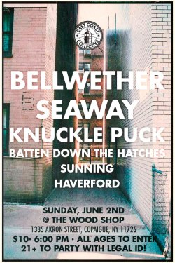 next Bellwether show on Long Island. We've lost a lot of venues on the Island in the past year; let's try and really pack the shit out of the Wood Shop. Gonna be a great time.