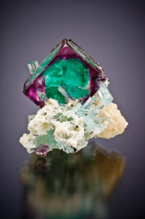 mineralists:  STUNNING specimen of Fluorite with Aquamarine! Simply breath taking…Erongo Mtns, Namibia