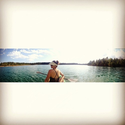 Tiny view of a big time w/ @thefritz09! Our kayak on our lake. Life rules.