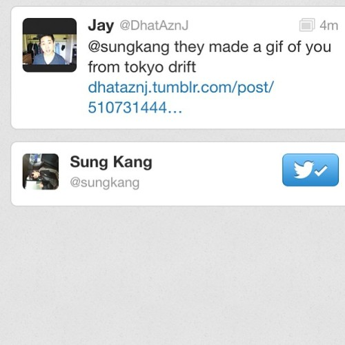 Sungkang from fast and the furious tokyo drift favorited my tweet #nice