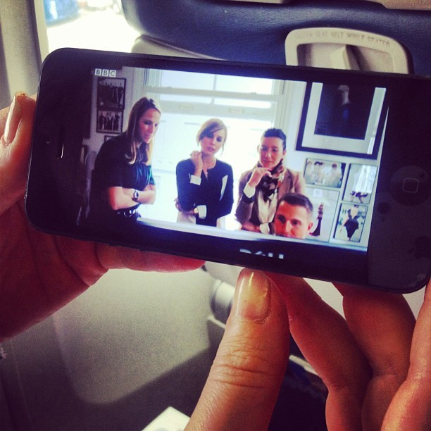 Airplane viewing of our BBC interview, loved this shot with @_frommetoyou @theglamourai and @nonoo_ny - thanks @bottidavid!