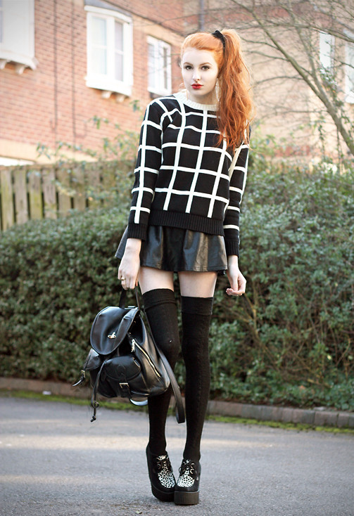 romwe:  Squares. Romwe White Lines Black Sweater (by Olivia Harrison)  romwe fashion