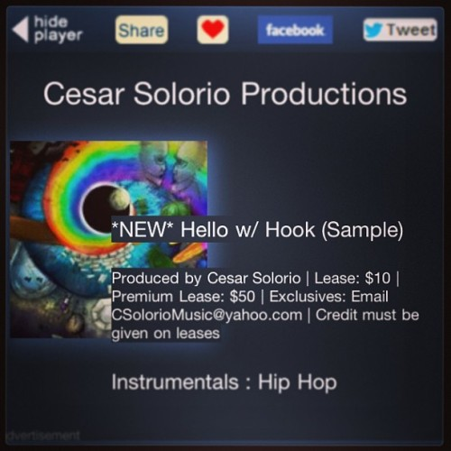 "NEW INSTRUMENTAL ""Hello w/ Hook"" NOW UP ON THE BEAT STORE! http://www.soundclick.com/CesarSolorioProductions #soundclick #flstudio #beats #instrumental #akai #mpk25 #pinkfloyd #beatswithhook"