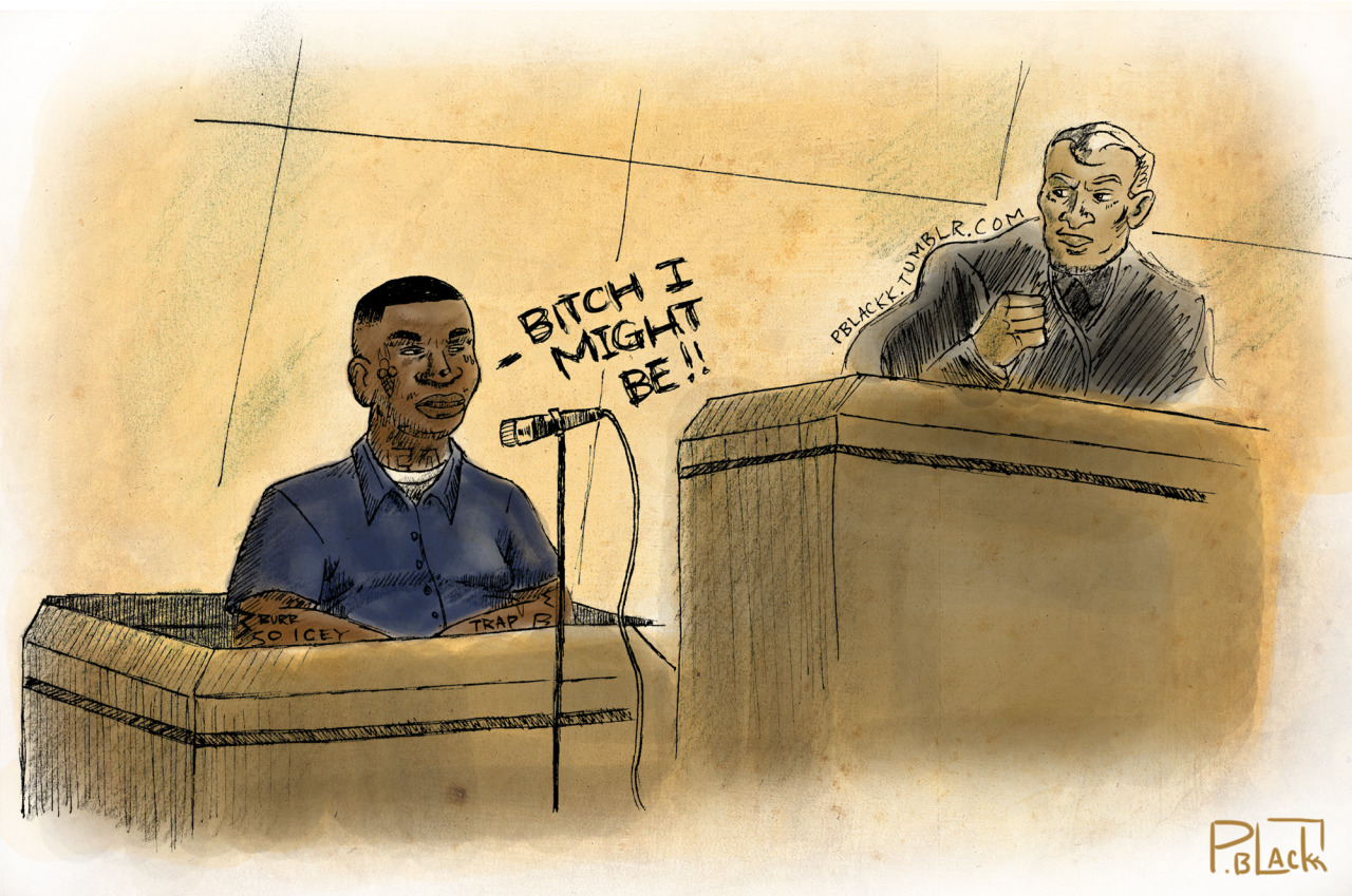 "45 minute courtroom sketch I did inspired by Gucci Mane's jail sentencing.  Where when asked if guilty, he replied ""Bitch I Might Be"""
