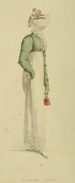 Walking dress, Ackermann's Repository, June 1814  I like to see these simpler fashions, since I know many styles in this part of the Regency were quite busy and adorned!