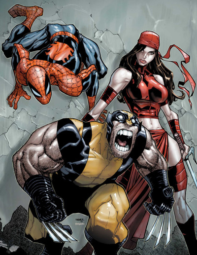 comicbookartwork:  Spider-Man, Wolverine and Elektra By Ramos