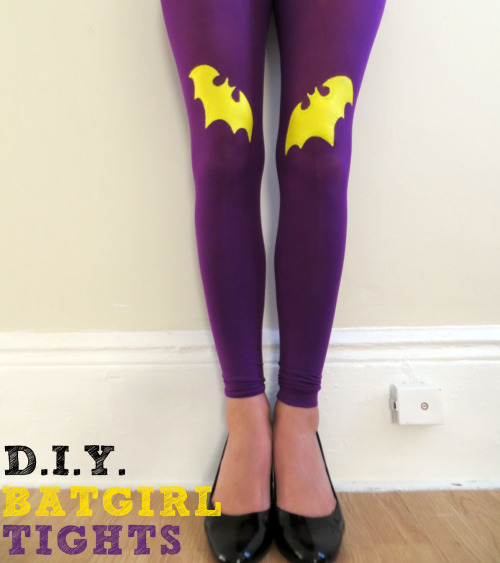 geekilicious:  DIY Handpainted Tights Tutorial: Batgirl Edition | by Elise Jimenez First off I would like to say a belated happy 2013 to everyone! I don't know about you, but have been pretty lazy for the first few weeks of this new year. I didn't jump right into any of my resolutions like I normally do.  Thankfully, my mindless browsing on Pinterest actually did some good and inspired me to come up with my first tutorial of the year! (Posting more on here is definitely on the resolutions list…and a possible revamp could be coming soon!)  As soon as I saw these beauties, I knew I had to try it…but with my own twist. No hearts and swallows for me. In my mind I could see only bats.  I wanted to go for a classic Barbara Gordon look so I chose bright purple and yellow for my colors.  WARNING: This will be time consuming, you may get messy and it requires lots of patience, but it's totally worth it.  Read More  Read More  I am definitely going to try this!!!!