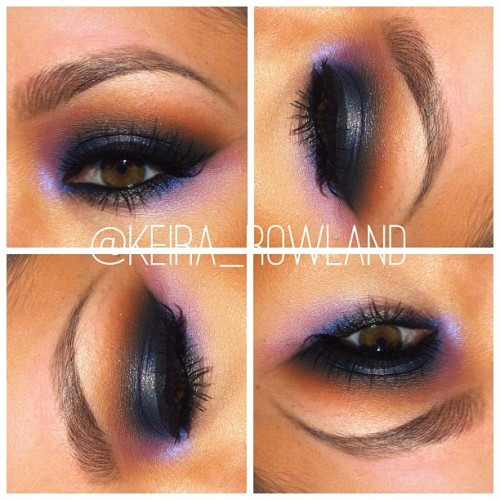 keirarowland:  Base: Blackground, Lid: Deep Truth/Vanilla pigment, Crease: Swiss Chocolate, Outer Crease: Nehru, Accent Highlight: Stars n' Rockets, Liner: Feline/Petrol Blue, Lashes: MAC 3 lashes….all products are #MAC unless otherwise noted :) #maccosmetics #macnyc #makeupaddict #makeupartist #macboys #macgirls #ilovemaciggirls #ilovemacgirls #macnyc #purplesmokyeye #smokyeye #eyeshadow #colorful #brows #lashes #motd