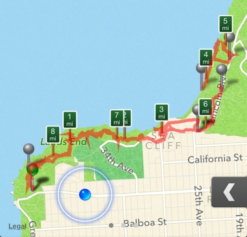 webuiltthiscity:  Perhaps the most beautiful hike within SF city limits to take advantage of the warm weather. Park at Sutro Baths (no time limit) and take the trail all the way to the start of the Batteries to Bluffs Trail (or keep going!), with detours to China Beach and Baker Beach. About 9 miles round trip.  Don't forget to make a pitstop to enjoy the Eagle Point Labyrinth at Land's End.