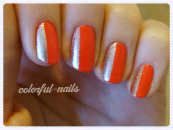 I am loving the OPI Euro Centrale Collection - here is 'My Paprika is Hotter than Yours' with Models Own 'Champagne' accents