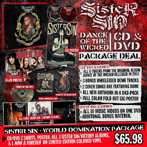 "Sister Sin's re-issue of their 2003 album ""Dance Of The Wicked""  is now available for pre order at www.victorymerch.com #sistersin"