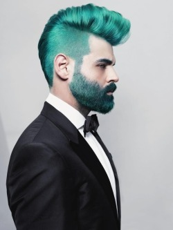 glitterswitch:  filthyqueerdaddy:  Yeah, this is me basically.  UGH teal beards omg  It's like an Anime character in real life o.O
