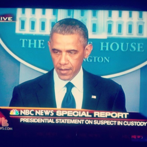 President Barack Obama speaking on the #bostonmarathonbombing tonight. #Obama #p2