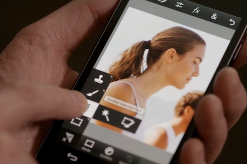 ADOBE PHOTOSHOP TOUCH  Photoshop Touch lets you quickly combine images, apply professional effects, and share the results with friends and family through social networking sites.  Key features include the ability to work on files up to 12 megapixels with higher resolution capabilities, core Photoshop tools one has become accustomed to and the ability to adjust layer order, control individual layer opacity, and move and manipulate layers independently. This new Adobe Photoshop Touch can be purchased on iTunes for $5 USD.