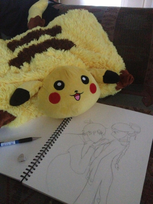 ooomillyooo:  Drawing zutara with my new pikachu pillow pet. :o  THAT'S A COOL DRAWING, BUT DUDE, WHERE DID YOU GET THAT THING OMG, I'D KILL FOR A PIKACHU PILLOW PET, NOT EVEN JOKING.