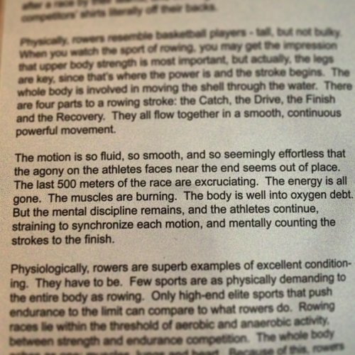 arizonarowing:  It seems that all a rower can ever write about or relate things to, is rowing.
