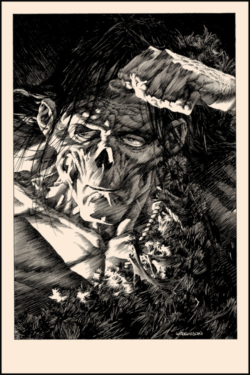 Heads Up: Nakatomi Inc.'s Bernie Wrightson Print Subscription  I've reviewed Bernie Wrightson's Frankenstein illustrations in the past, but for those who haven't read my write-ups, here's the main takeaway: I'm almost certain Bernie's artwork was under all that sand in the Ark of the Covenant from Raiders of the Lost Ark. I won't go as far as to say with 100% certainty that Wrightson's prints possess supernatural powers and have the ability to gruesomely liquefy Nazis, but am I trying to imply it? Definitely. The posters are a joy to behold and are so packed with detail, you'll have trouble believing a single artist could create them without at least a little divine face-melting assistance. And if you missed out on his last two releases through Nakatomi Inc., prepare yourself, because I've got some great news for you. But before that, let's take a look at the next poster in the series, shall we?  Click here to read more | Click here to visit Nakatomi Inc.